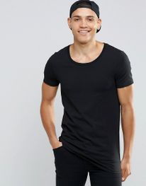 Longline Muscle T-Shirt With Scoop Neck In Black