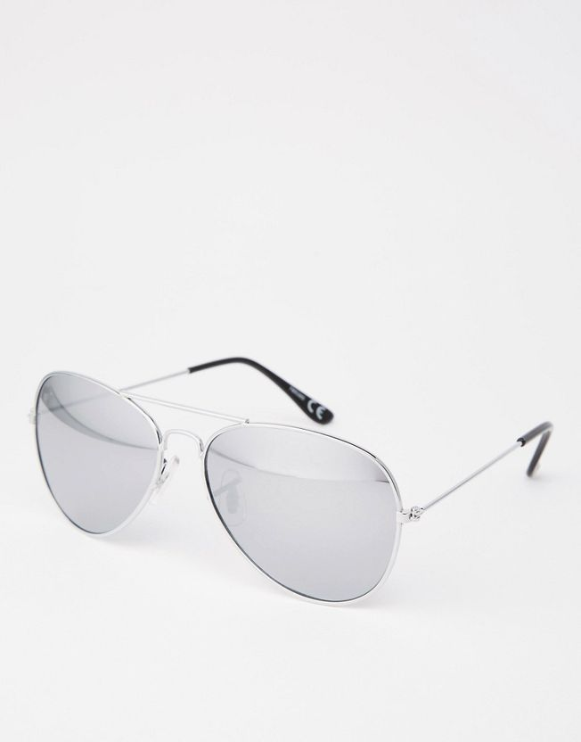 Silver Aviator With Mirror Lens
