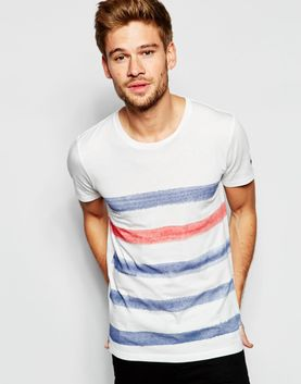 Esprit T-Shirt with Painted Breton Stripe
