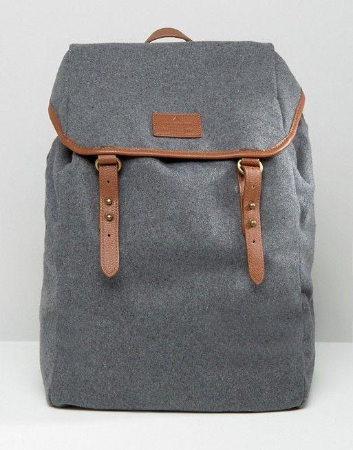 Backpack In Grey Melton With Brown Straps